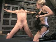 Mistress whips and fucks her slave