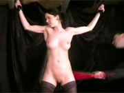 Bound and whipped in dungeon