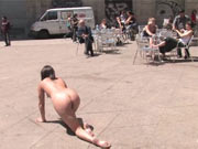 Slavegirl gets fully nude in public