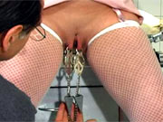 Pussy tortured with clamps and vibrator