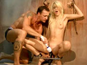 Blonde shackled girl fucked hard