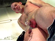 Shocking of cock with violet wand