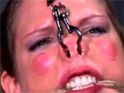 Facial torture for BDSM model