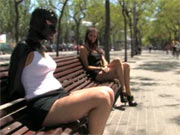 Latex slave on the street