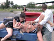 Blonde bitch tied and fucked outdoor